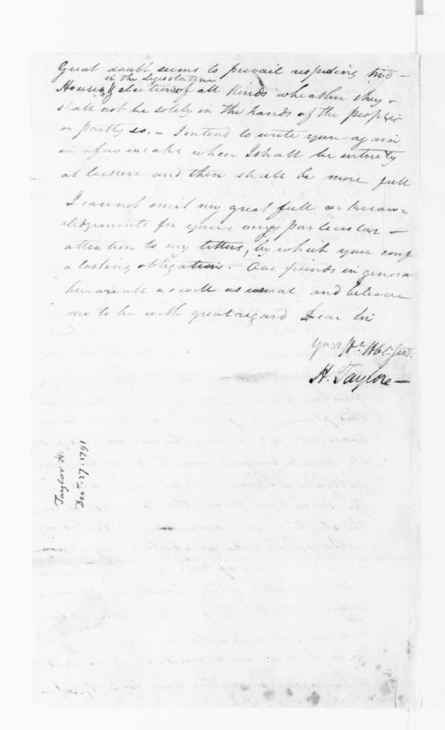 Hubbard Taylor to James Madison, December 17, 1791.