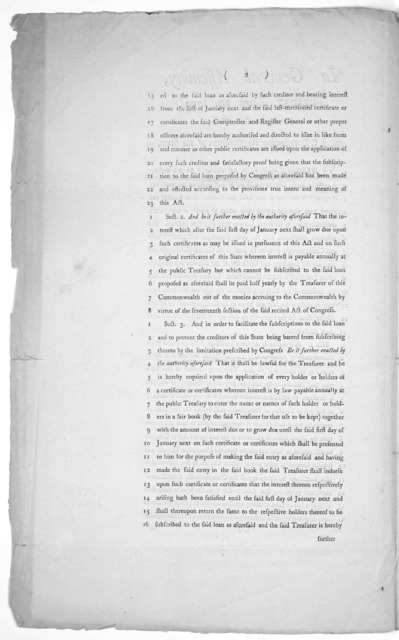 In General Assembly. Tuesday March 29 1791. Read the first time. An act respecting the creditors of the state ... Philadelphia: Printed by Thomas Bradford [1791].