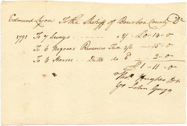Invoice of tax levy on Edmund Ly[ne's] property
