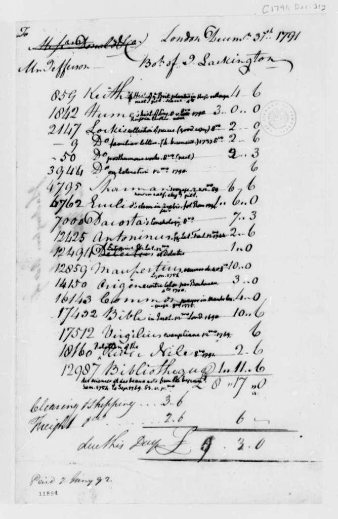 J. Lackington to Thomas Jefferson, December 31, 1791, Statement