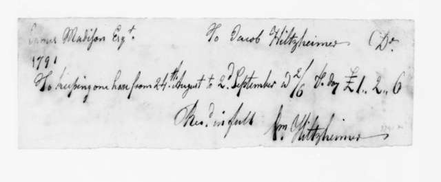 Jacob Hiltzheimer to James Madison, September 2, 1791. Receipted Bill.