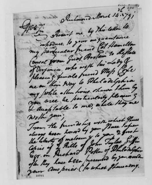 James Currie to Thomas Jefferson, March 14, 1791
