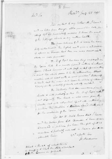 James Madison to James Madison Sr., January 23, 1791.