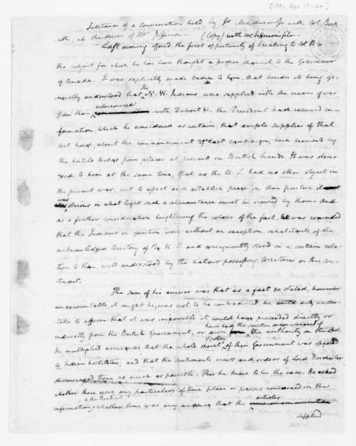 James Madison to Thomas Jefferson, April 17, 1791. Memorandum of Conversation with George Beckwith.