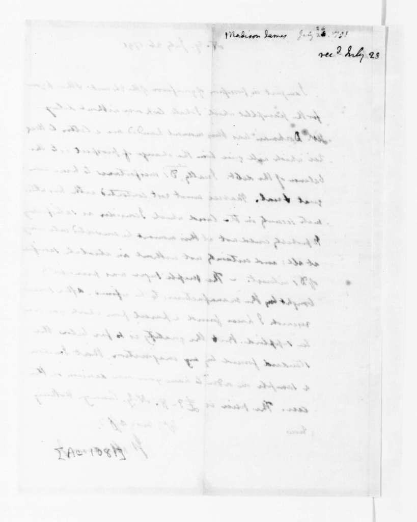 James Madison to Thomas Jefferson, July 26, 1791.