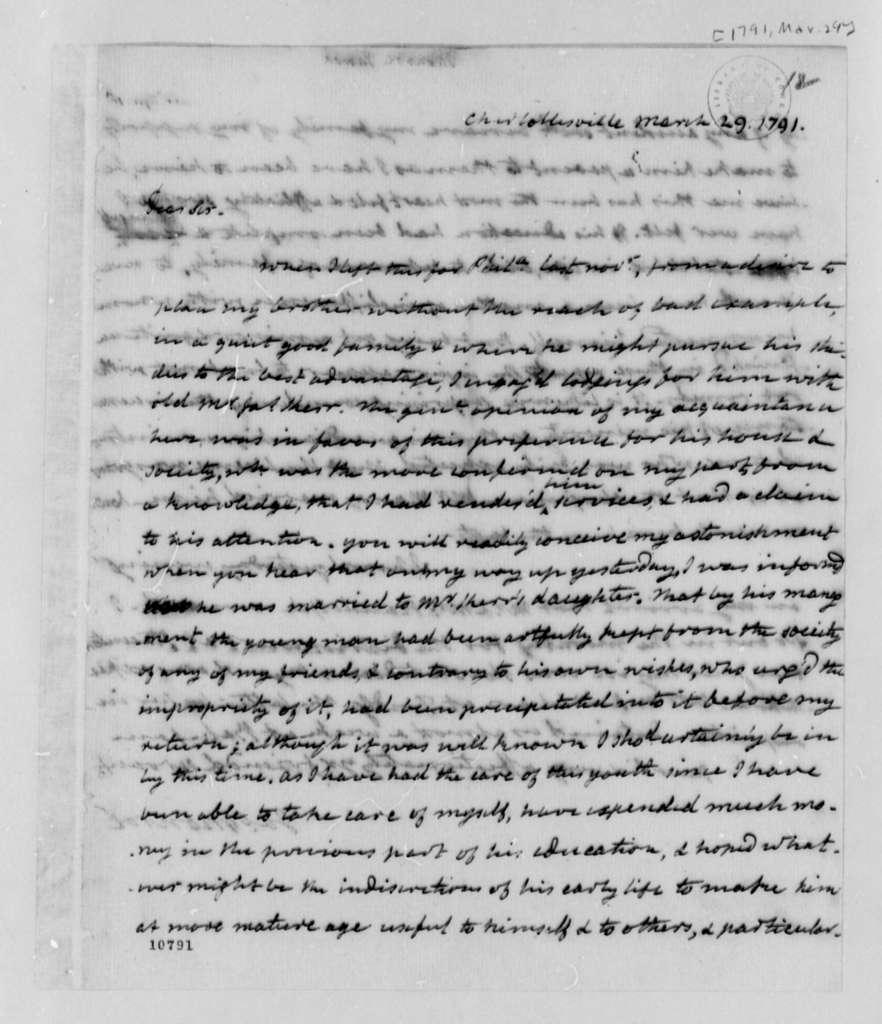 James Monroe to Thomas Jefferson, March 29, 1791