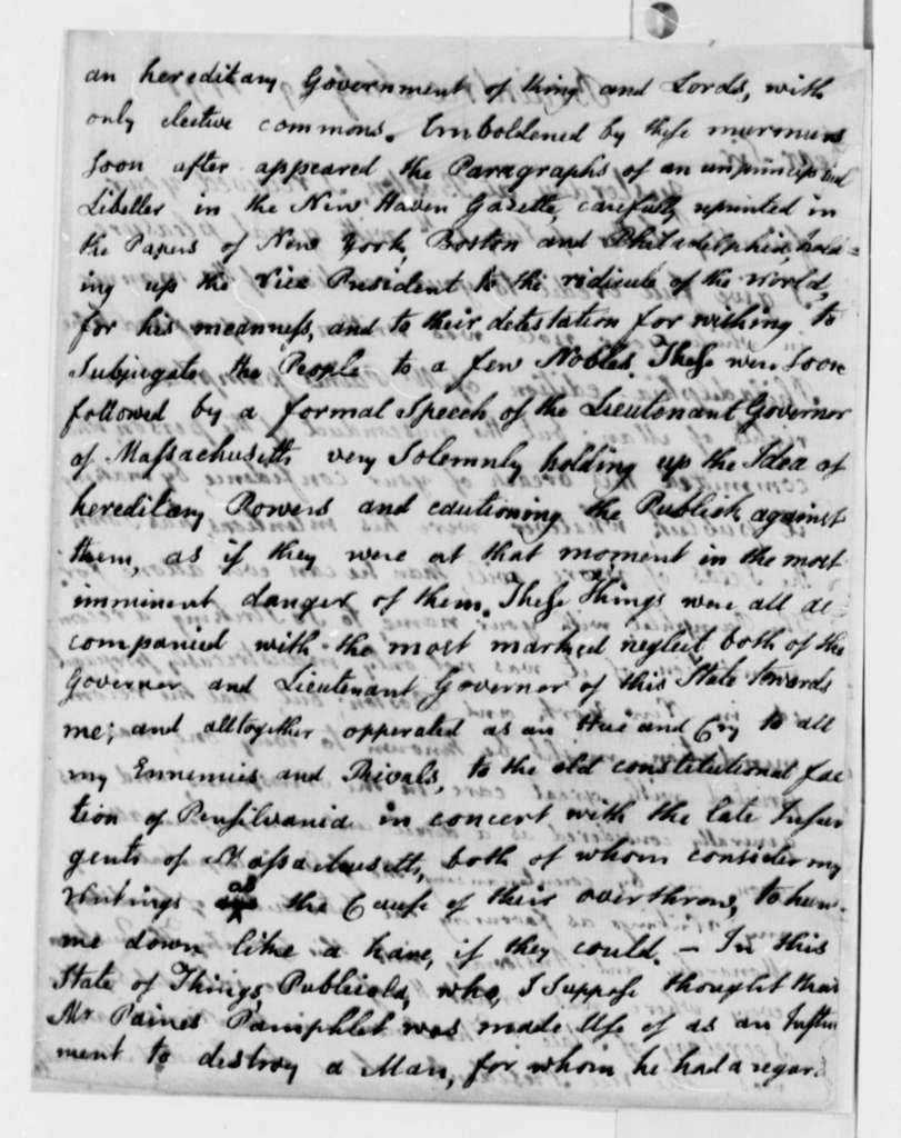 John Adams to Thomas Jefferson, July 29, 1791