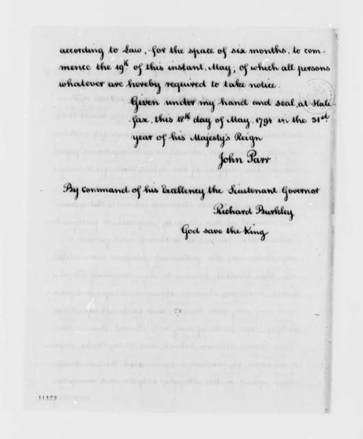 John Parr, May 18, 1791, Proclamation on Imports