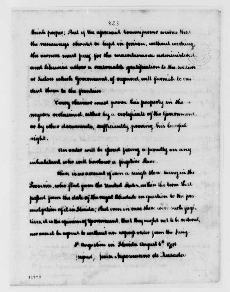 Juan Nepomuceno de Quesada to James Seagrove, August 6, 1791