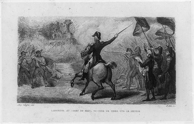 Lafayette au Champ de Mars, ordonne de tirer sur le peuple / Ary Scheffer, del. ; Pollet, sc.
