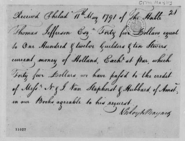 Leroy & Bayard to Thomas Jefferson, May 11, 1791, Receipt