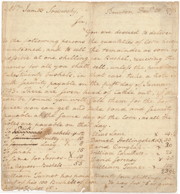 Letter from Harry Innes to James Sodowsky