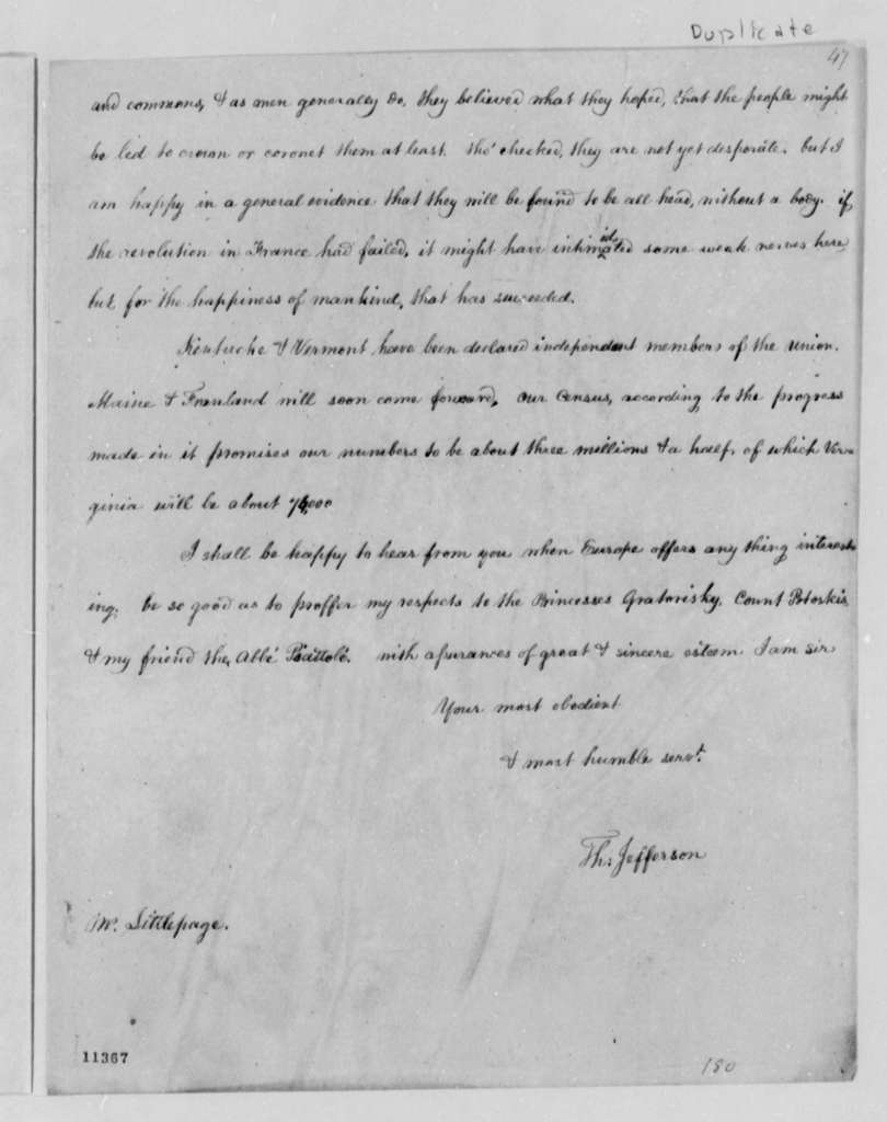 Lewis Littlepage to Thomas Jefferson, July 29, 1791, with Copy