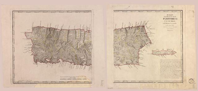Mapa topográfico de la Isla de San Juan de Puerto Rico y la de bieque con la division de sus partidos /