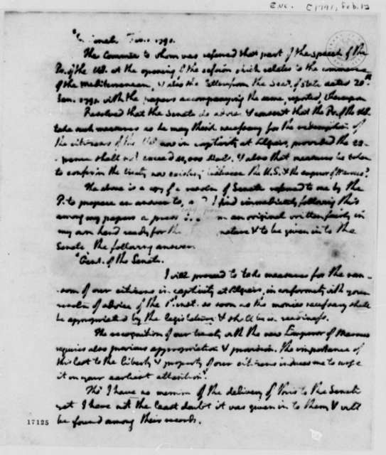 Mediterranean Commerce Report, February 1, 1791, with Letter to Madison Dated April 17, 1797