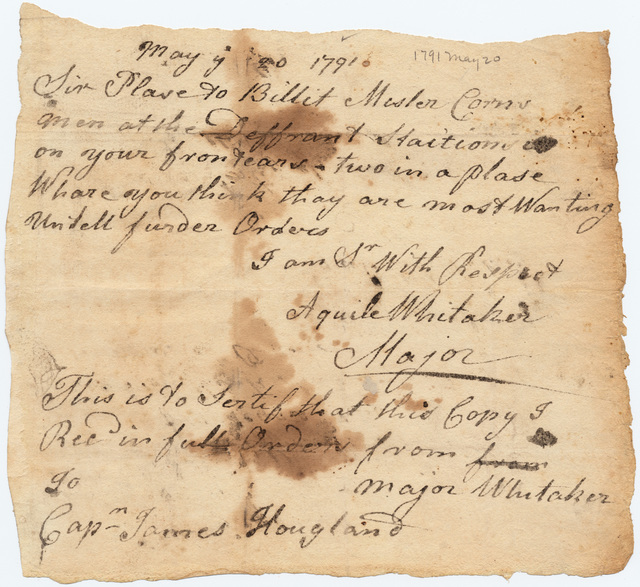 Military orders  from Aquilla Whitaker to James Hougland
