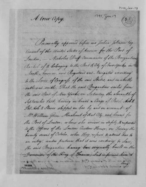 Nicholas Duff, January 17, 1791, Affidavit of Joshua Johnson on the Brigantine Rachel, with Copy