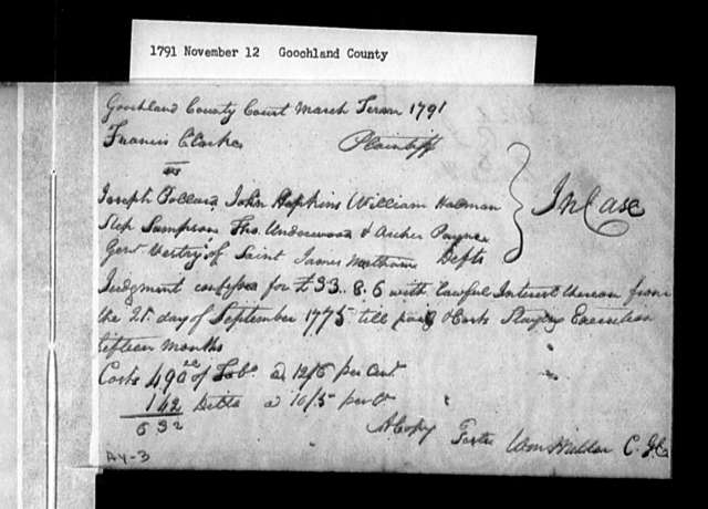 November 12, 1791, Goochland, Former vestrymen of St. James' Northam Parish, asking for levy on parish inhabitants to pay debt they incurred while in office.