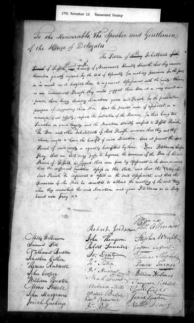 November 12, 1791, Nansemond, Suffolk Parish, to permit Overseers of the Poor of the parish to support own poor.