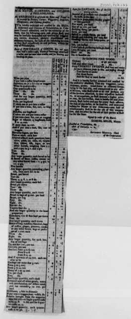 Philadelphia, February 28, 1791, Newspaper Clipping of Ordinance on Rates and Prices Enacted