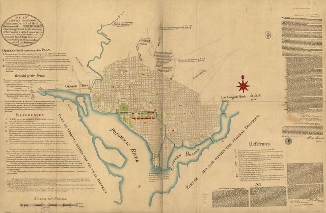 "Plan of the city intended for the permanent seat of the government of t[he] United States : projected agreeable to the direction of the President of the United States, in pursuance of an act of Congress passed the sixteenth day of July, MDCCXC, ""establishing the permanent seat on the bank of the Potowmac"" : [Washington D.C.] /"