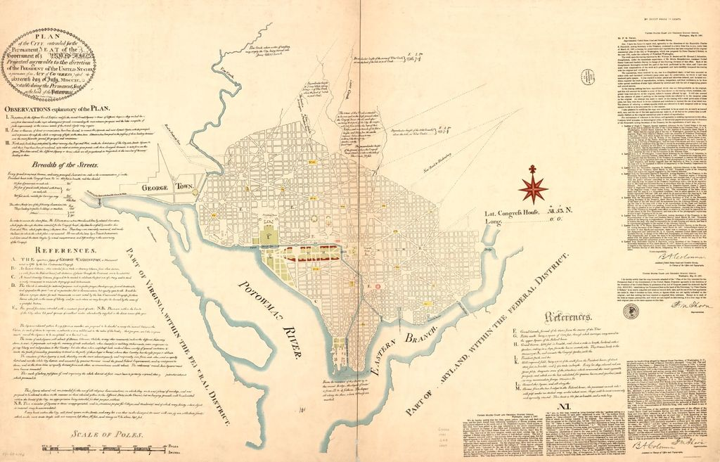 "Plan of the city intended for the permanent seat of the government of t[he] United States : projected agreeable to the direction of the President of the United States, in pursuance of an act of Congress passed the sixteenth day of July, MDCCXC, ""establishing the permanent seat on the bank of Potowmac"" : [Washington D.C.] /"