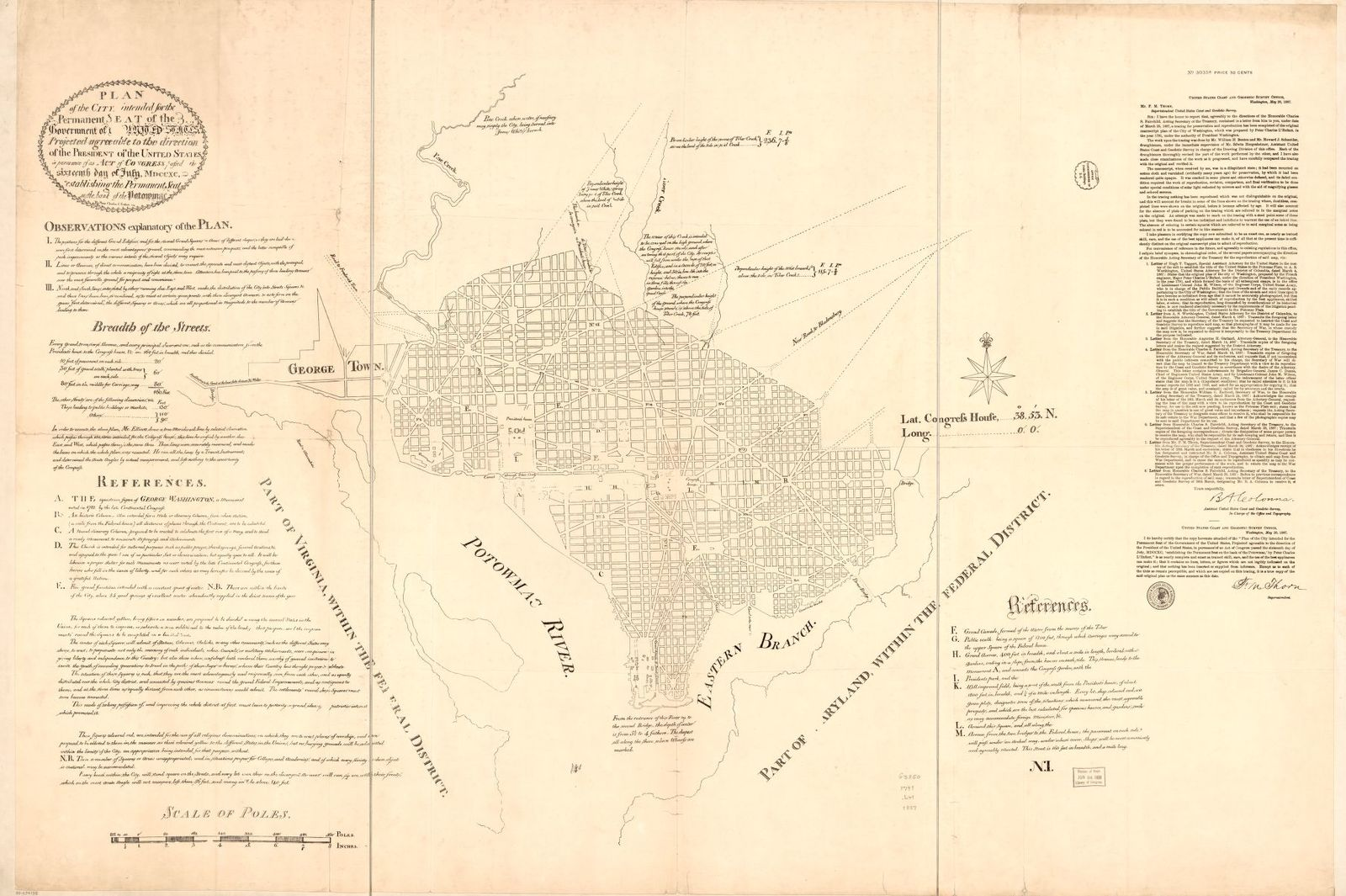 """Plan of the city intended for the permanent seat of the government of t[he] United States : projected agreeable to the direction of the President of the United States, in pursuance of an act of Congress passed the sixteenth day of July, MDCCXC, """"establishing the permanent seat on the bank of the Potowmac"""" : [Washington D.C.] /"""