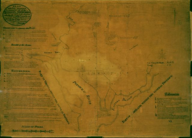 """Plan of the city intended for the permanent seat of the government of t[he] United States : projected agreeable to the direction of the President of the United States, in pursuance of an act of Congress, passed on the sixteenth day of July, MDCCXC, """"establishing the permanent seat on the bank of the Potowmac"""" : [Washington D.C.] /"""