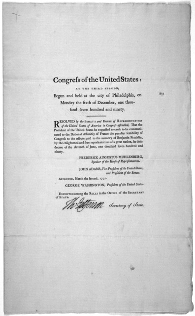 ... Resolved by the Senate and House of representatives of the United States of America in Congress assembled, That the President of the United States be requested to cause to be communicated to the National Assembly of France the peculiar sensi