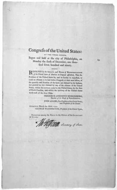 ... Resolved by the Senate and House of representatives of the United States of America in Congress assembled, that the president of the United States be, and he hereby is requested, to cause, an estimate to be laid before Congress at their next