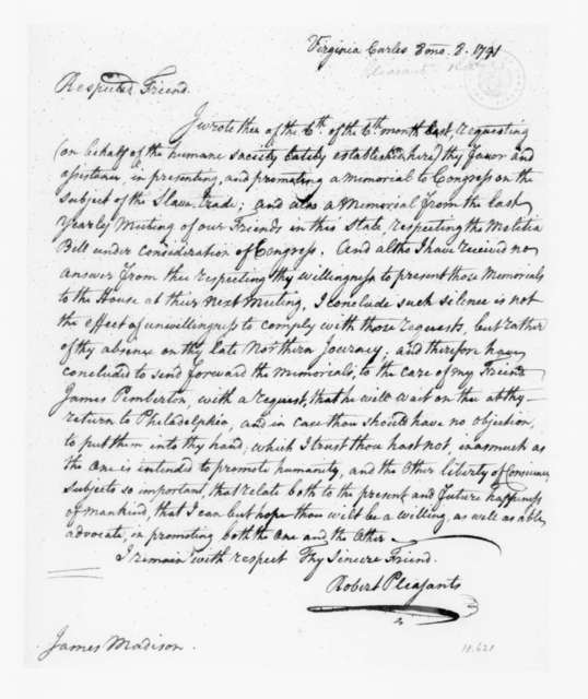Robert Pleasants Jr. to James Madison, August 8, 1791.