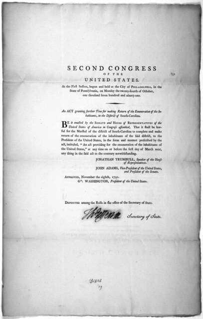 Second Congress of the United States. At the first session, begun and held at the City of Philadelphia, in the state of Pennsylvania, on Monday the twenty-fourth of October, one thousand seven hundred and ninety-one. An act granting farther time