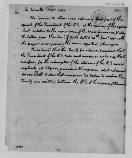 Senate, February 1, 1791, Resolution on Redemption of American Citizens Held by Algiers