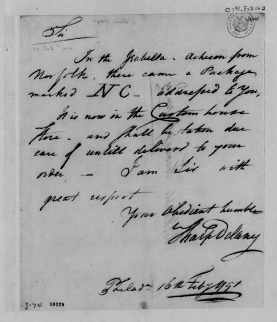 Sharp Delany to Thomas Jefferson, February 16, 1791