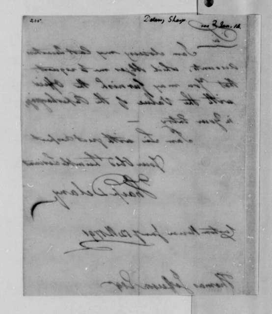 Sharp Delany to Thomas Jefferson, January 12, 1791
