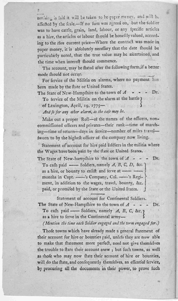 State of New-Hampshire, Exeter, August 17, 1791. The Commissioners appointed by the General Court, to state the demands of this State, against the United States, find themselves under the necessity of calling upon the several towns and places in