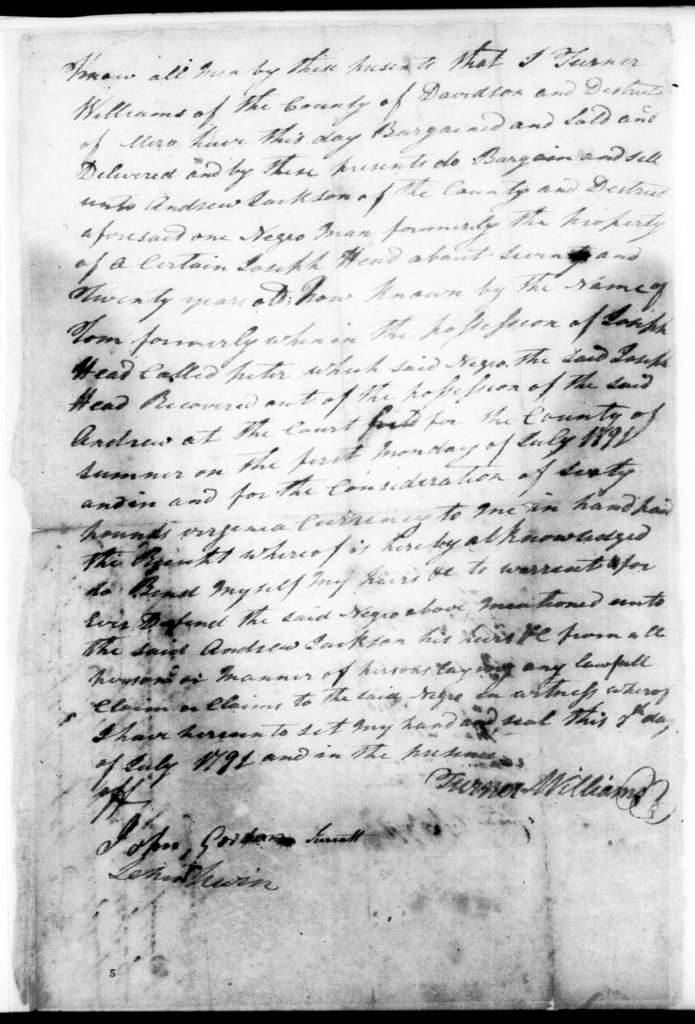 T. Williams to Andrew Jackson, July 7, 1791