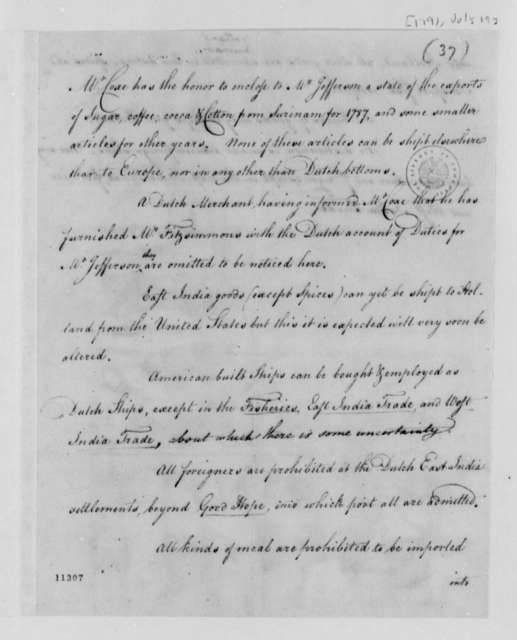 Tench Coxe, July 19, 1791, Commercial and Navigational Regulations of Portugal