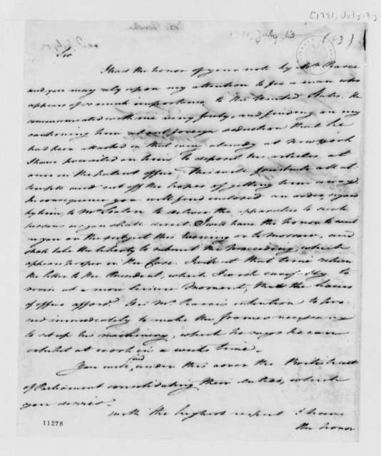 Tench Coxe to Thomas Jefferson, July 13, 1791