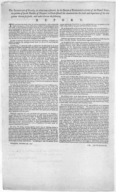 The Secretary of state, to whom was referred, by the House of representatives of the United States, the petition of Jacob Isaacks of Newport, in Rhode Island, has examined into the truth and importance of the allegations therein set forth, and m