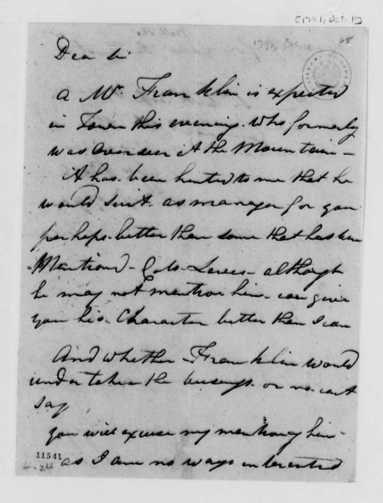 Thomas Bell to Thomas Jefferson, October 11, 1791