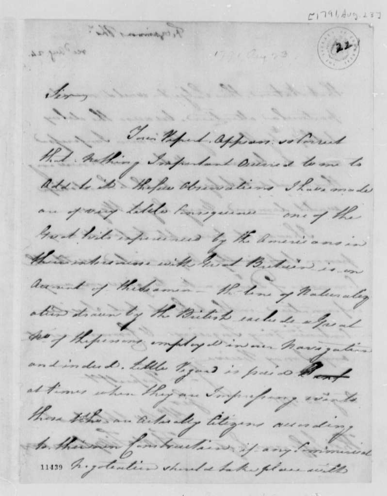 Thomas Fitzsimmons to Thomas Jefferson, August 23, 1791