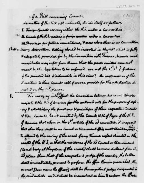 Thomas Jefferson, December 1, 1791, Draft of Bill on U.S. Consuls