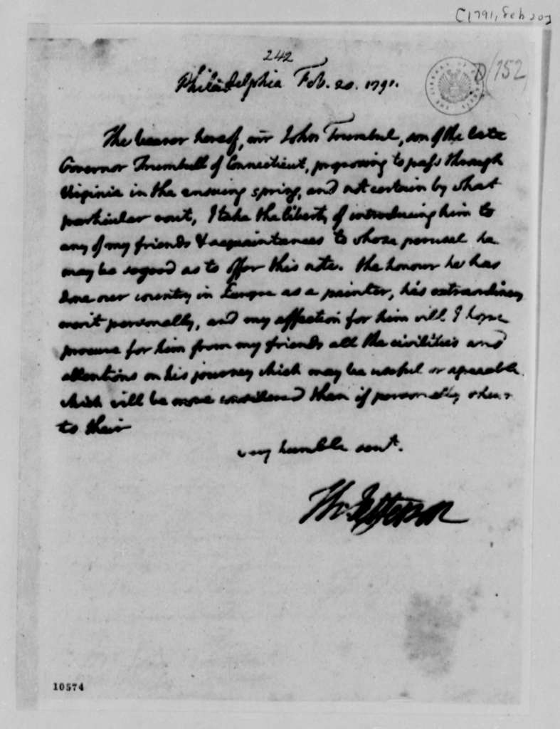 Thomas Jefferson, February 20, 1791, Introduction for John Trumbull, with Copy