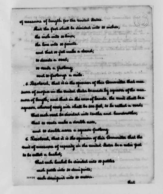 Thomas Jefferson, January 17, 1791, Notes and Reports on Units of Measure