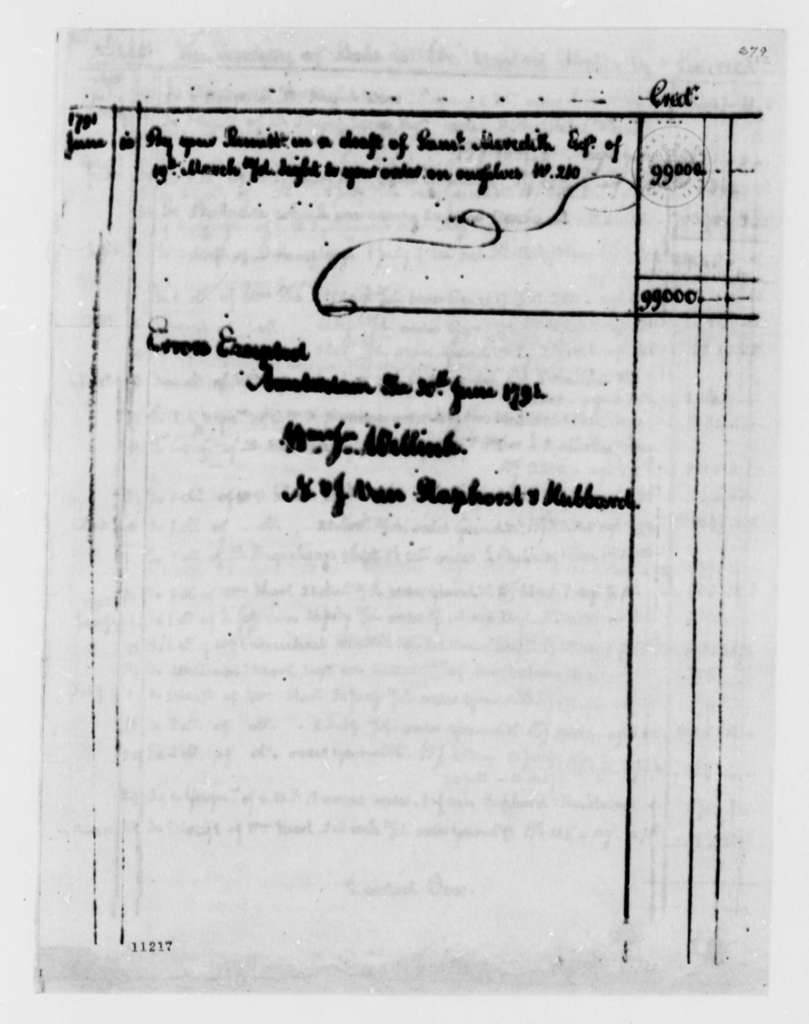 Thomas Jefferson, June 30, 1791, Official Expenditures, United States Debt