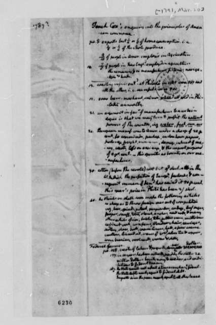 Thomas Jefferson Tench Coxe, March 20, 1791, Notes on American Commerce