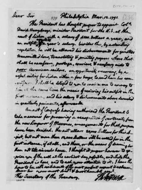 Thomas Jefferson to Alexander Hamilton, March 12, 1791