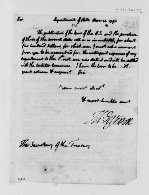 Thomas Jefferson to Alexander Hamilton, March 31, 1791