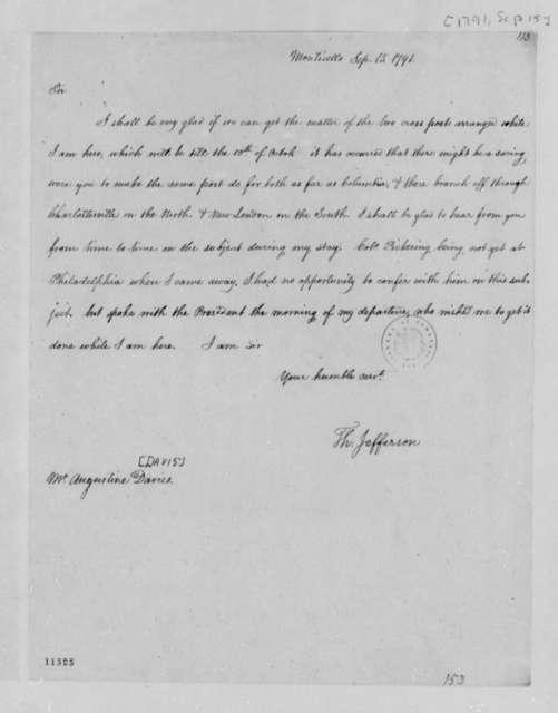 Thomas Jefferson to Augustine Davis, September 15, 1791
